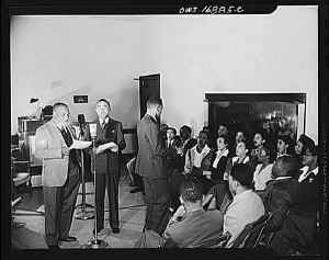 President James A. Colston of Bethune-Cookman college speaking to a nationwide audience..jpg (27744 bytes)